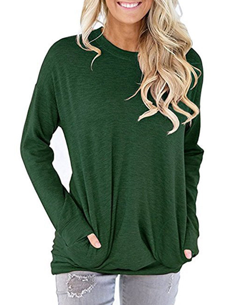 T-Shirt - Pockets Solid Casual Long Sleeve Plus Size T-Shirt