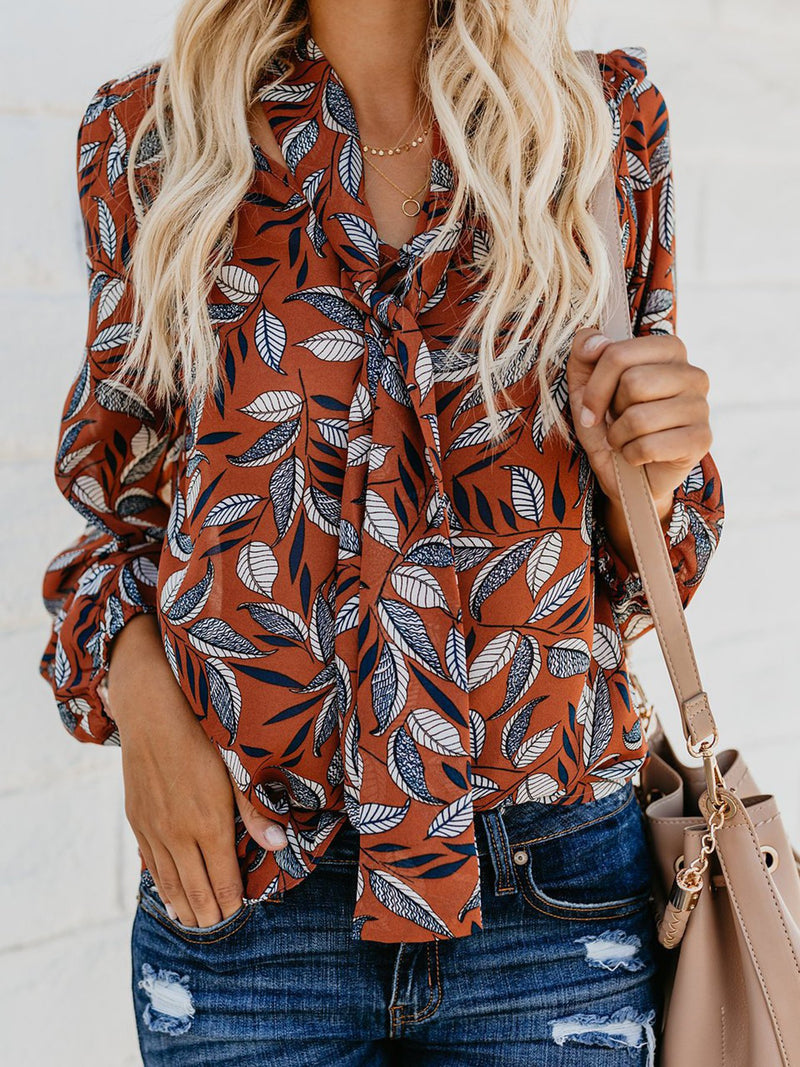 V Neck Chiffon Casual Floral Tops - Blouses