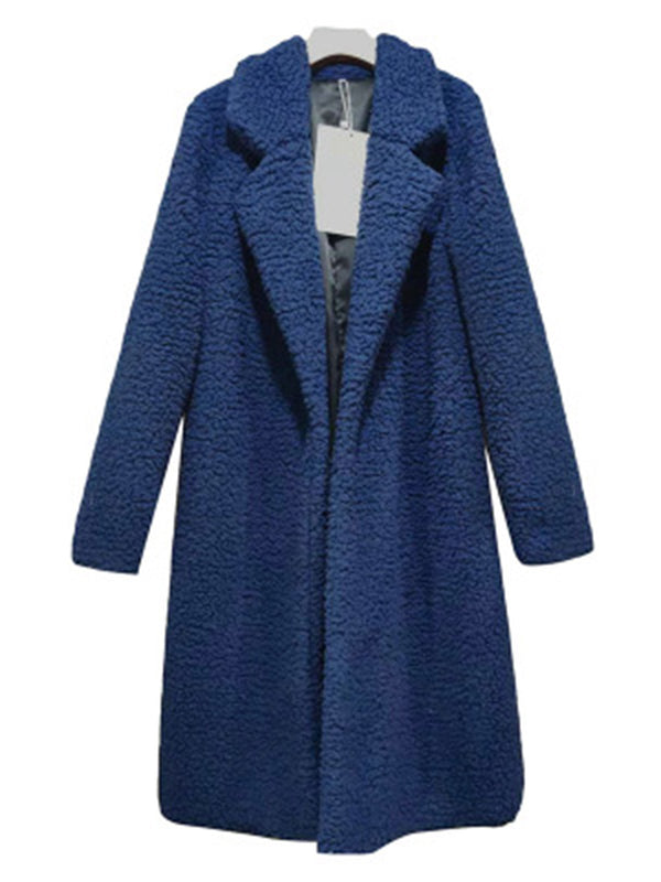 Shawl Collar Casual Solid Long Sleeve Faux Fur Parka Coat