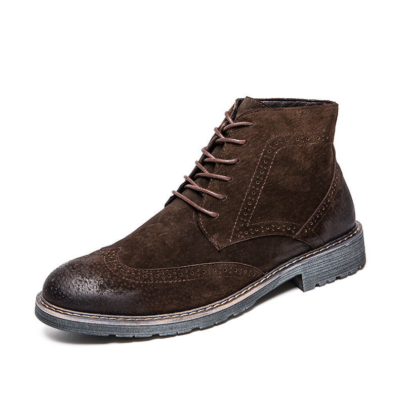 Men's British Style High-top Boots Daily Casual Slip Resistant Shoes