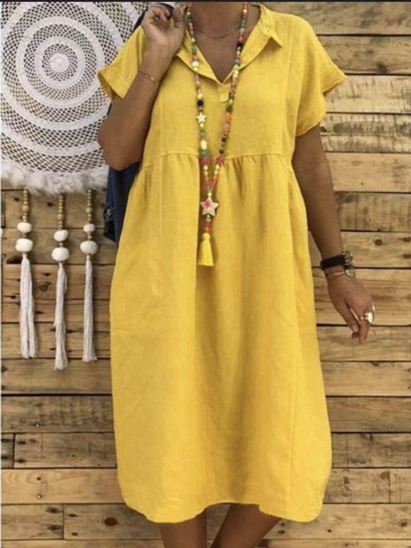 Plus Size Casual Shirt Collar Short Sleeve Midi Dress