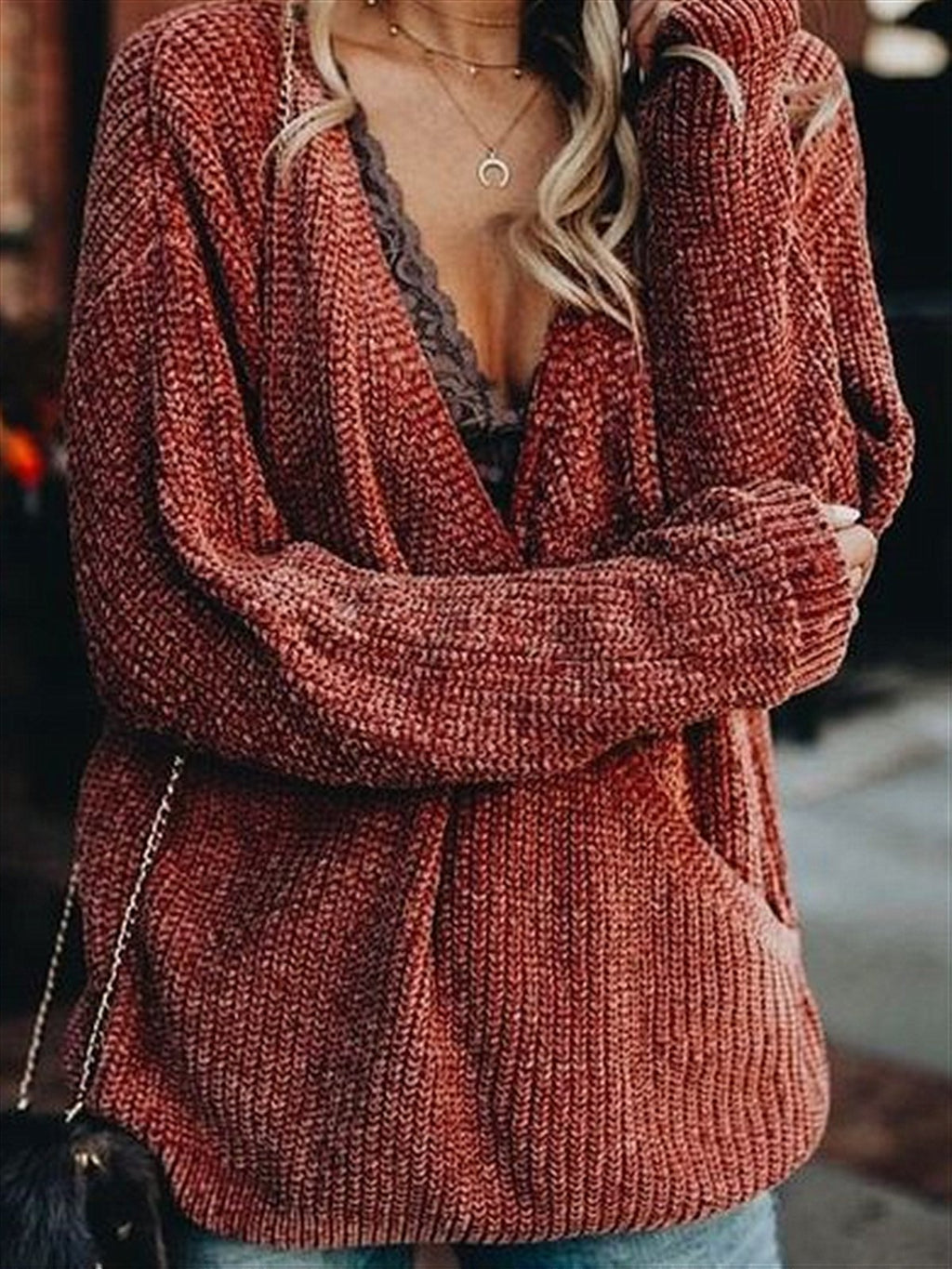 Autumn Red Casual V-neck Basic Knitted Sweater Top