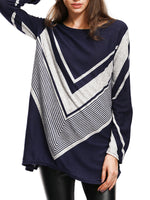 Geometric Shift Striped Casual Sweater