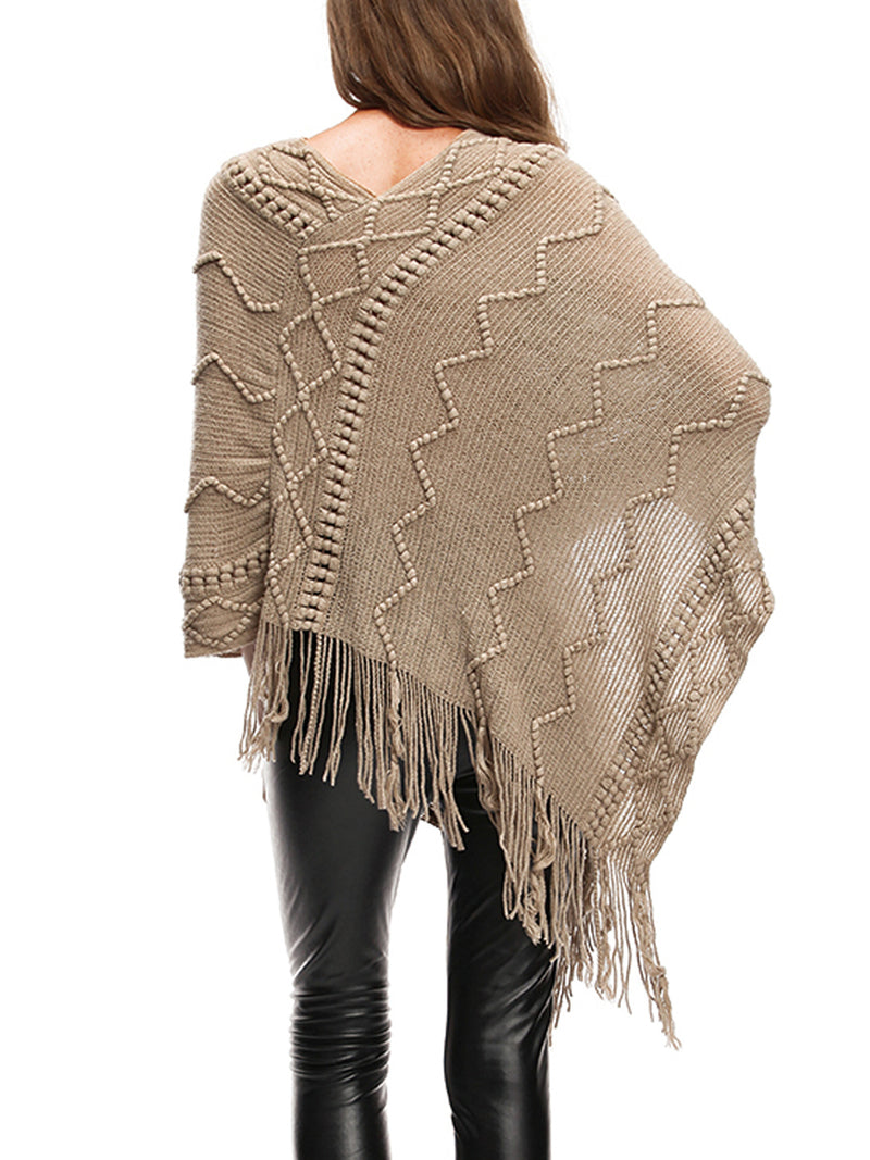 Batwing Fringed Casual Shift Sweater