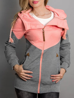 Color-block Hoodie Cotton-blend Casual Hoodies & Sweatshirt