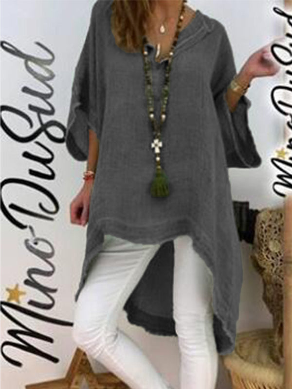 Army Green Cotton Asymmetrical Long Sleeve Shirts & Tops