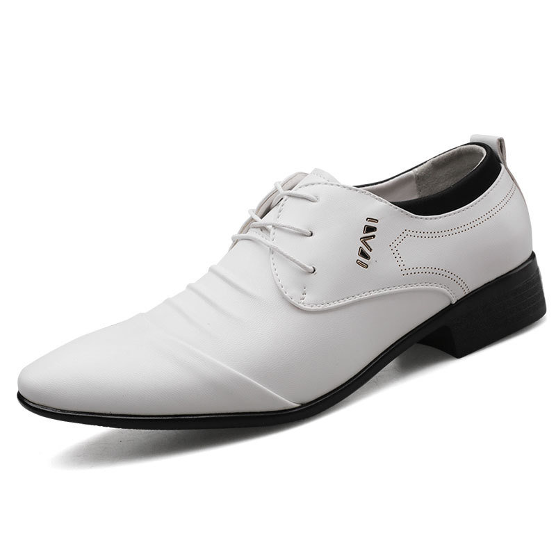 Men Classic Pure Color Pointed Toe Business Formal Shoes
