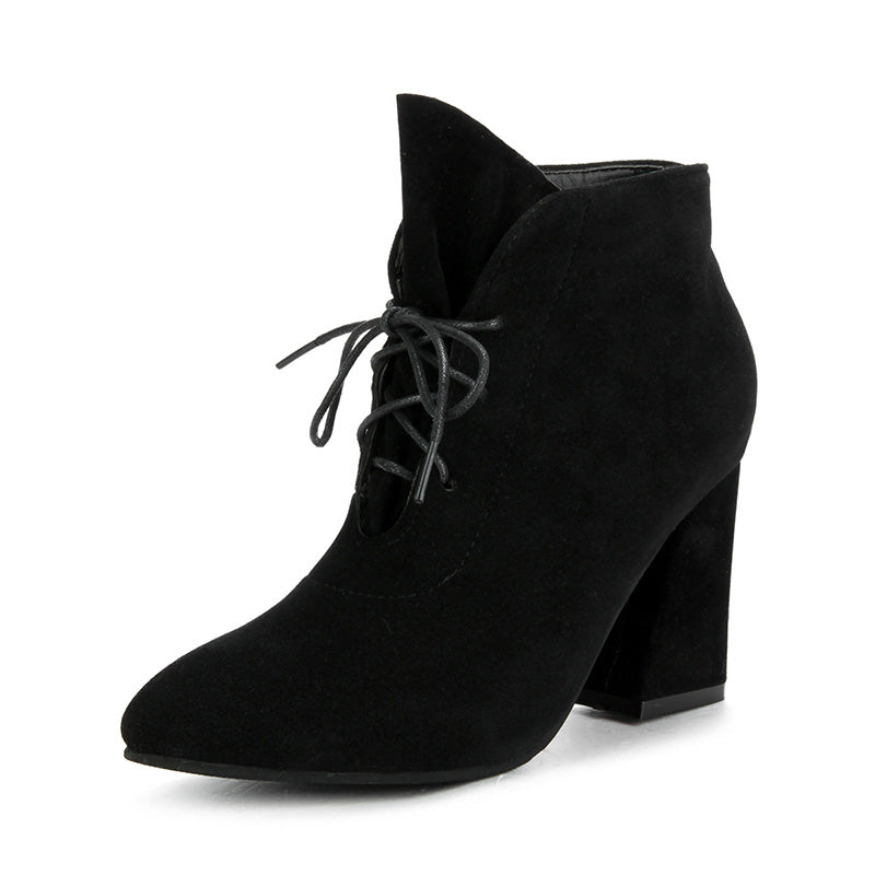 Women Scrub Lace-up Chunky Heel Combat Pointed Toe High Heel Boots