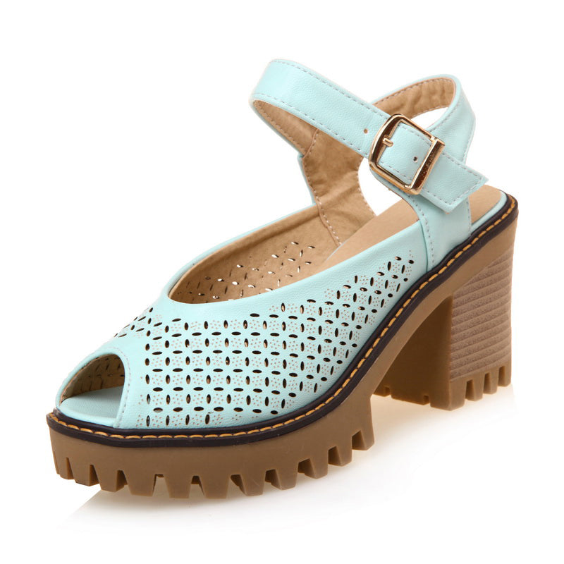 Peep Toe Daily Spring/Fall Buckle Sandal