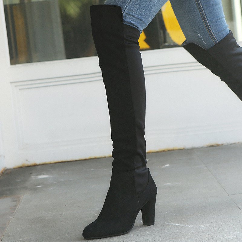 Plus Size Faux Suede Color Block Boots Chunky Heel Knee-high Boots