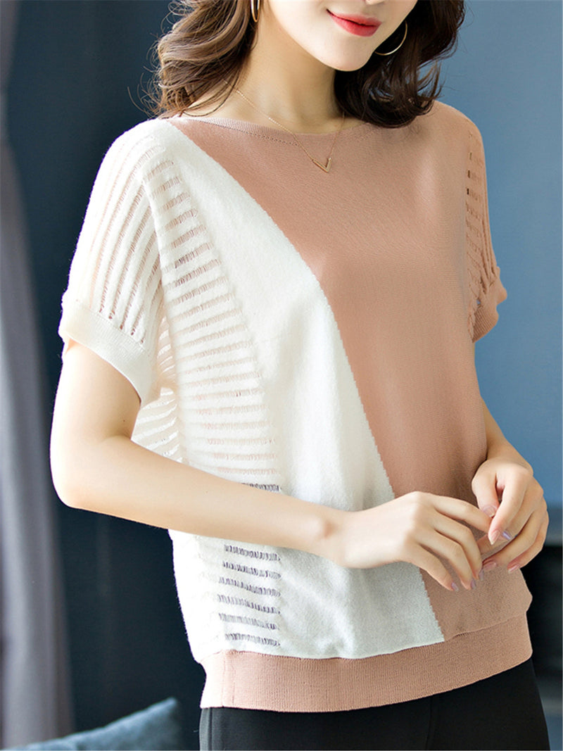 Casual Short Sleeve Color-block Knitted Sweater