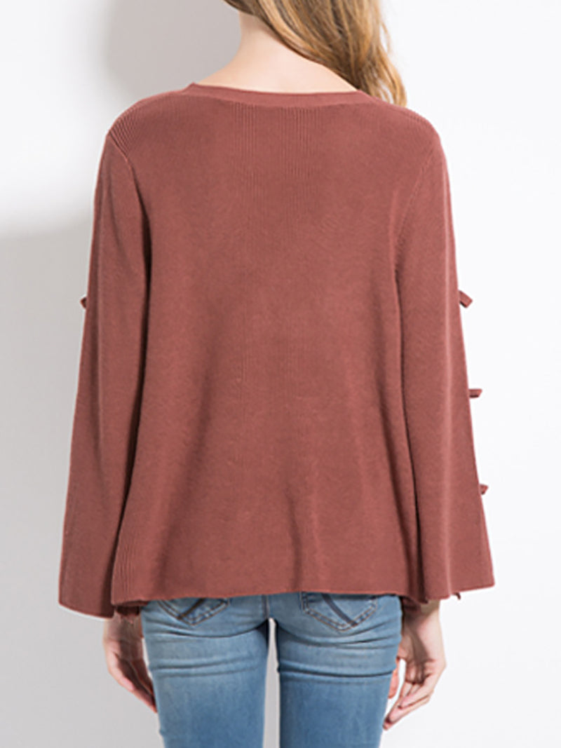 CutoutCasual Solid Shift Knit Top