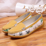 Women Casual Floral Print Slip On Loafers Shoes