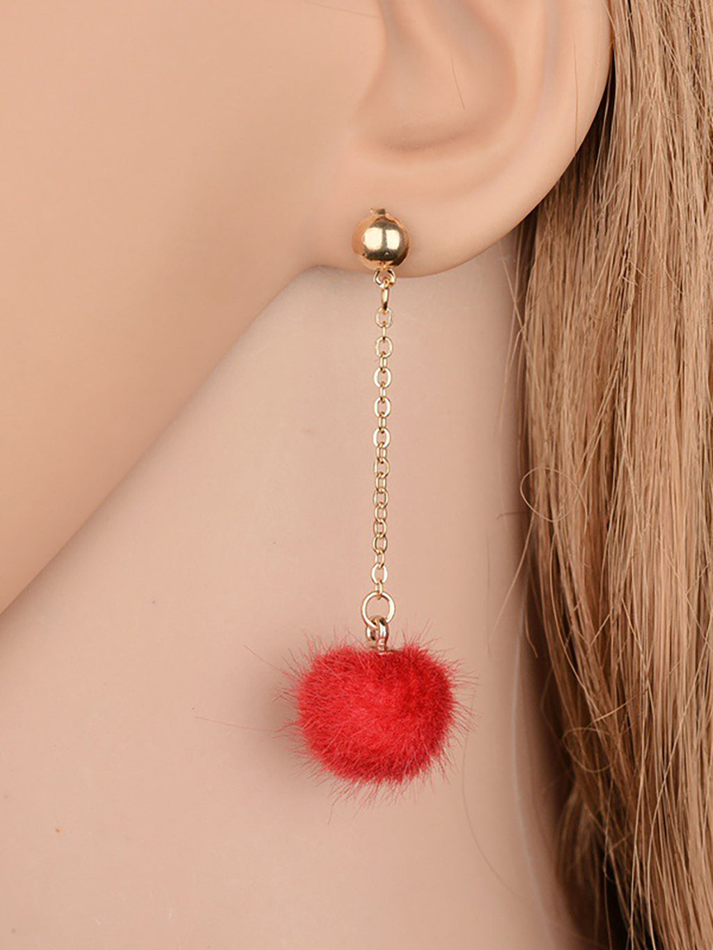 Womens Lovely Fuzzy Ball Chain Earrings