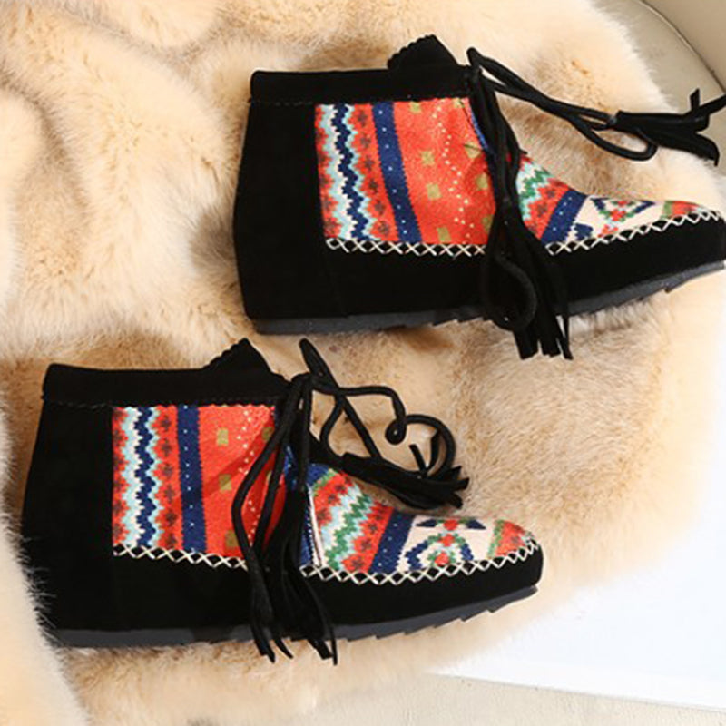 Boho Christmas Suede Lace Up Ankle Boots