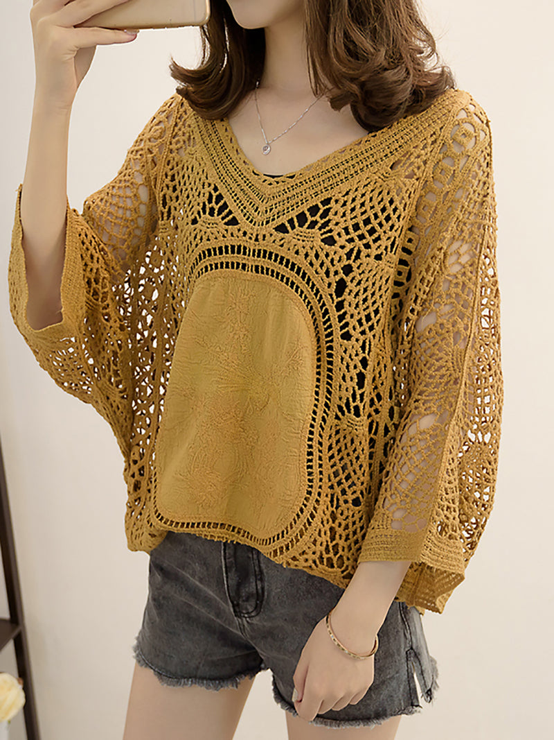 V neck Eyelet Casual Shift Knit Top