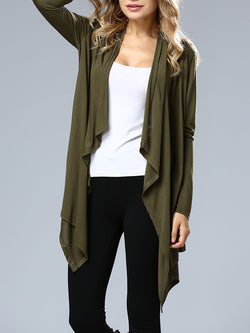 Solid High Low Casual Daily Outerwear