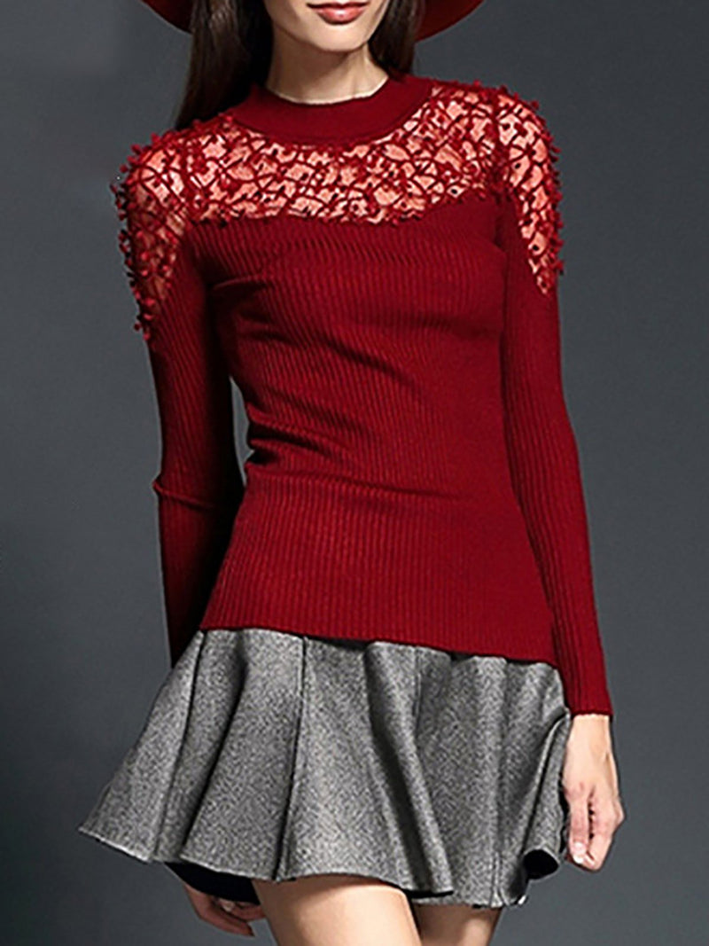 Paneled See Through Sheath Knit Top