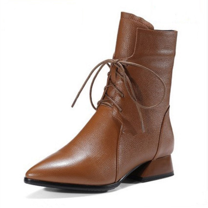 Fashion Lace-Up Chunky Heel Pointed Toe Martin Boots