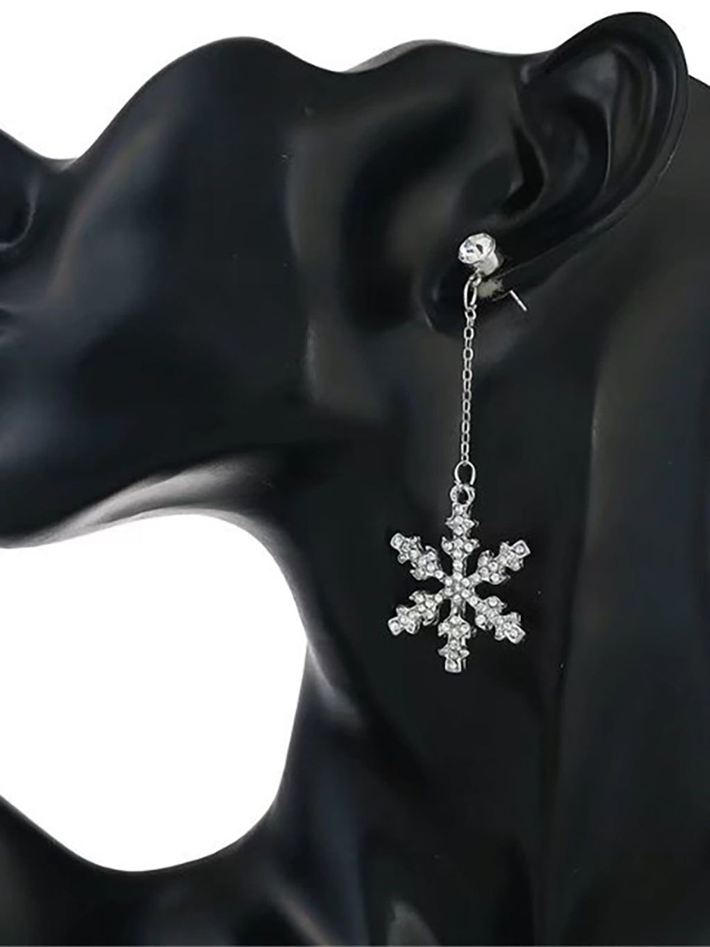 Womens Snowflake Crystal Fashion Long Earrings