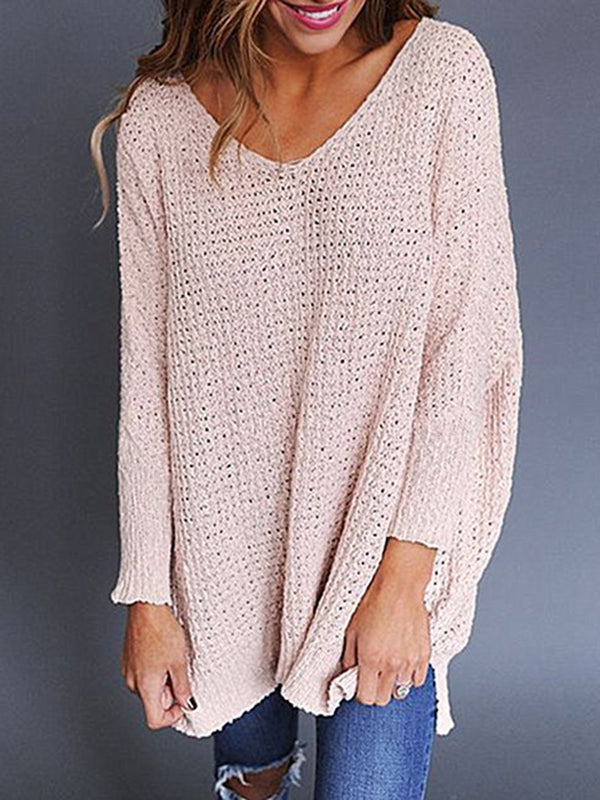 Long Sleeve H-line V Neck Knitted Sweater