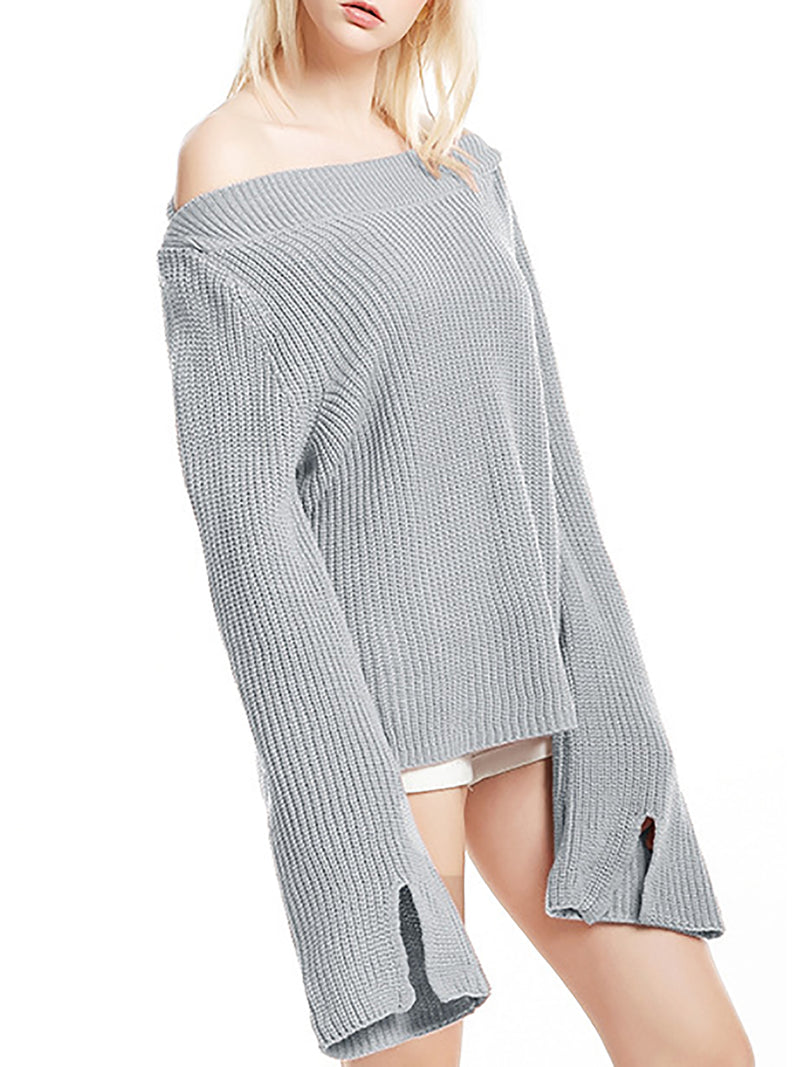 Solid Bateau/boat Neck Ribbed Shift Casual Sweater