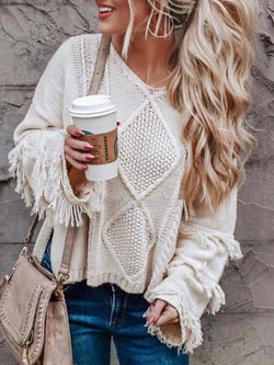 Beige Knitted Crew Neck Long Sleeve Solid Tops