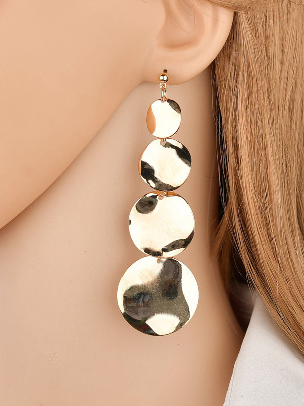 Womens Retro Long Round Circular Earrings