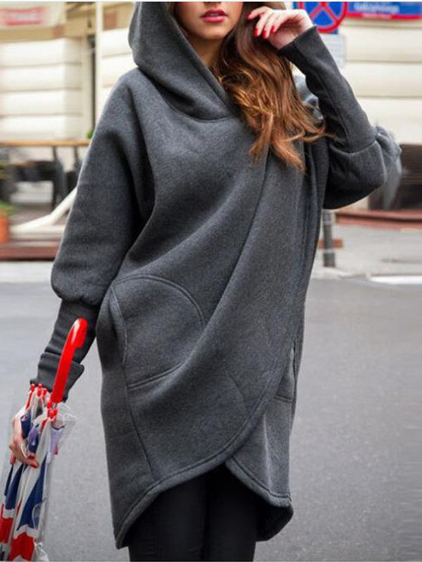 Asymmetrical Hooded Long Sleeve Sweatshirt