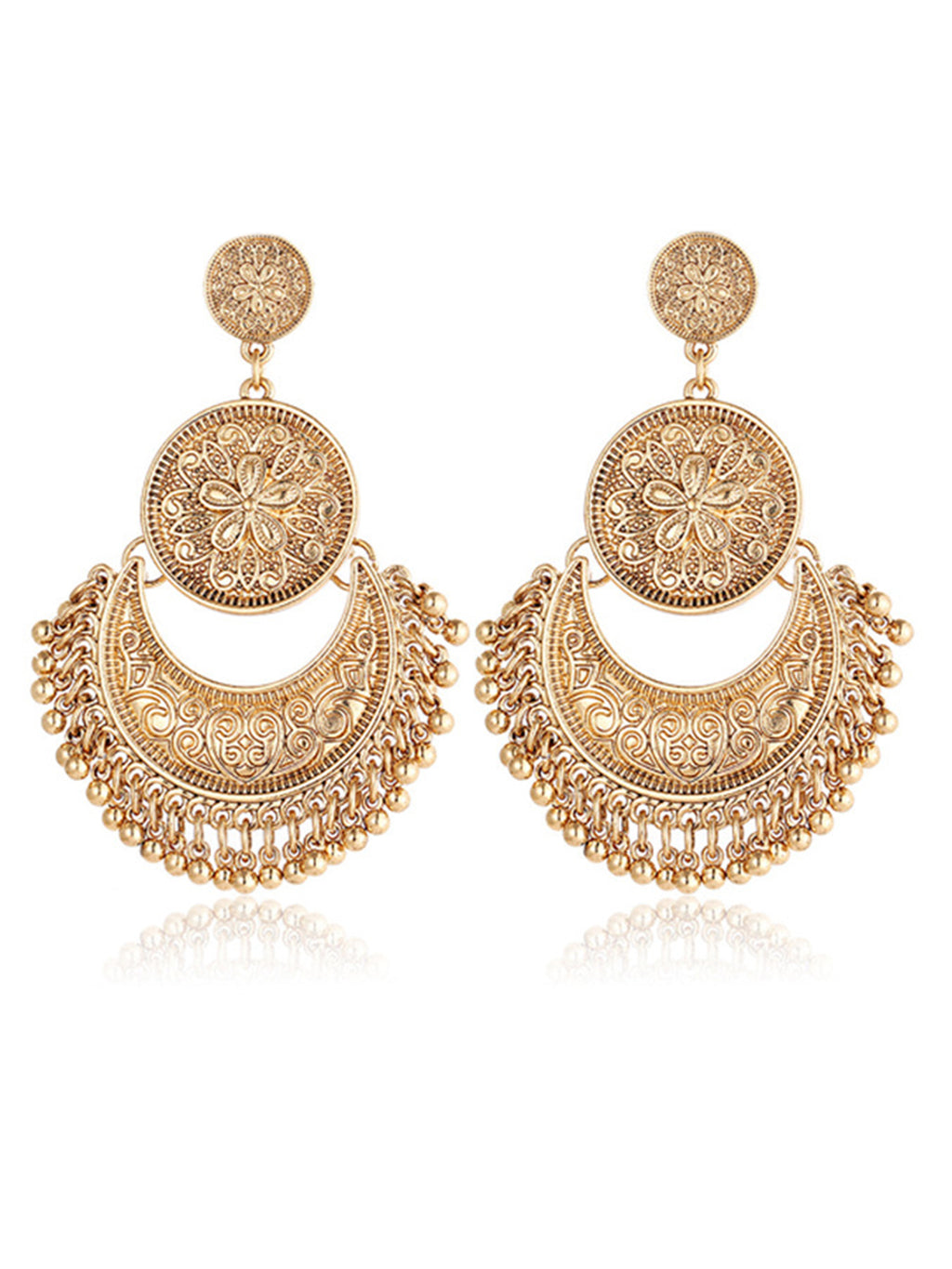 Womens Retro Ethnic Tassel Alloy Flower Moon Drop Dangle Earrings
