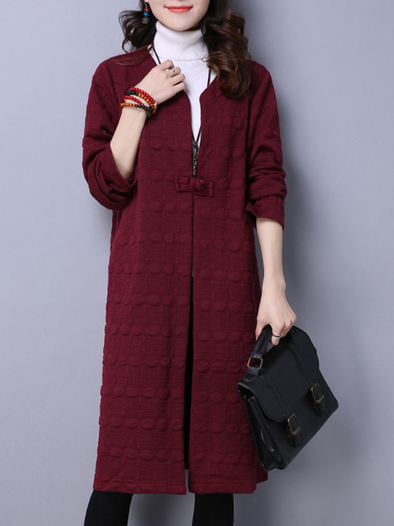 Solid Long Sleeve Embossed Solid Coat