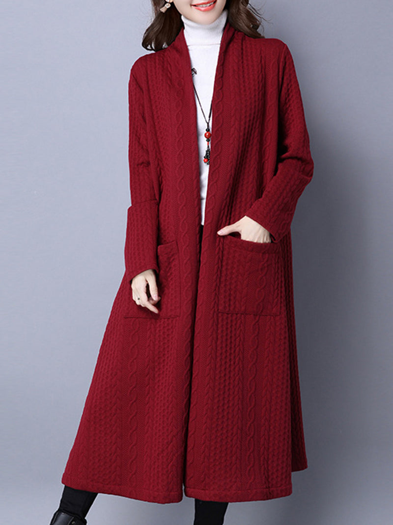 Red Embossed Pockets H-line Long Sleeve Casual Coat