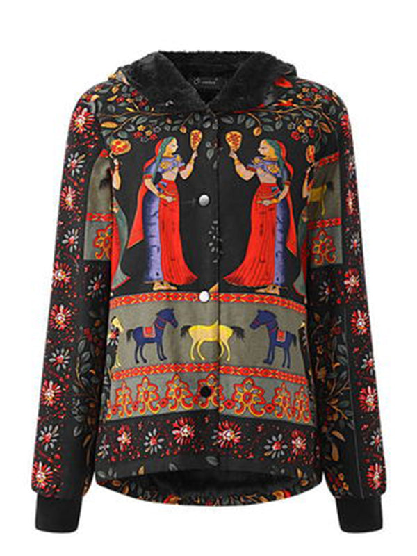 Fleece-lined Tribal Printed Long Sleeve Hoodie Coat
