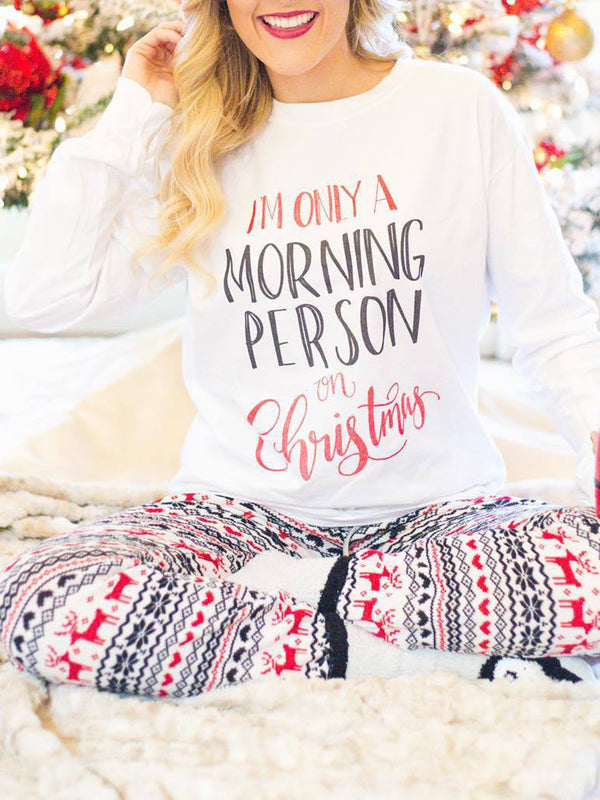 2 PCS Sets Christmas White Holiday Letter Crew Neck Cotton-Blend Jumpsuits Sets
