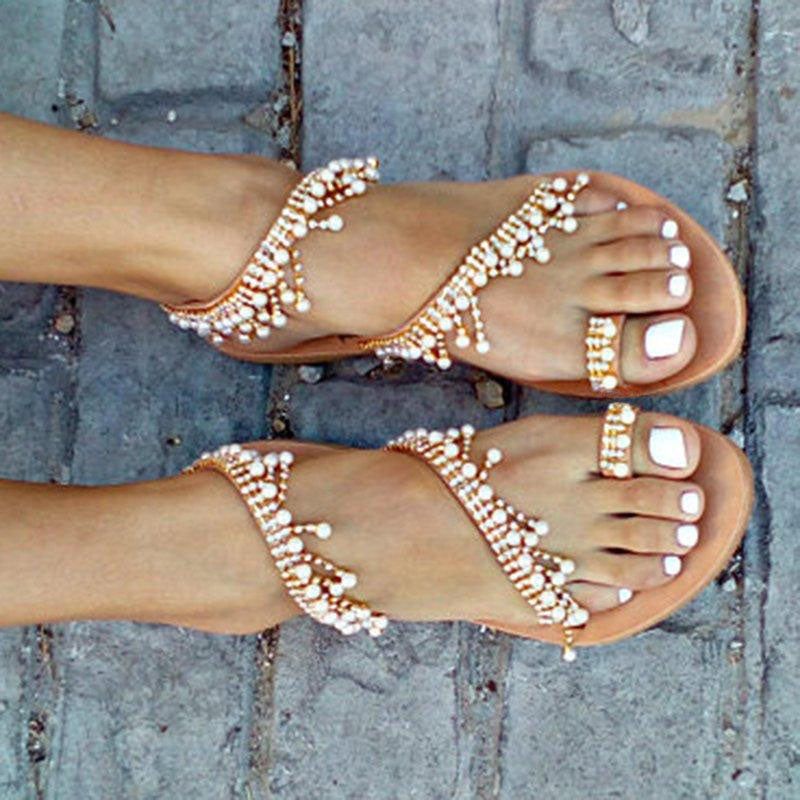 Leather Sandals Casual Pearls Shoes