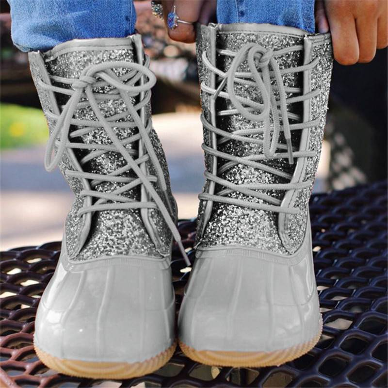 Women Casual Lace-Up Sparkling Glitter Pu Boots