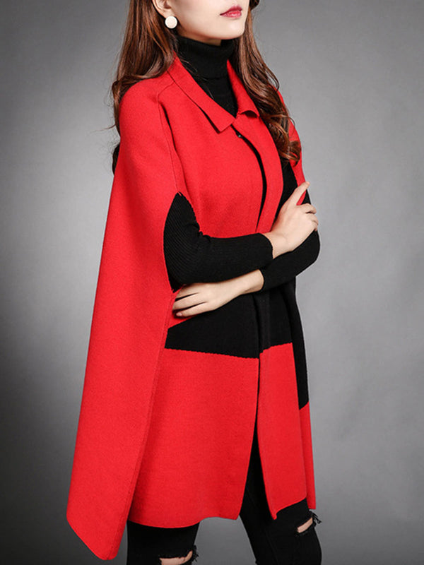 Batwing Wool Blend H-line Color-block Coat