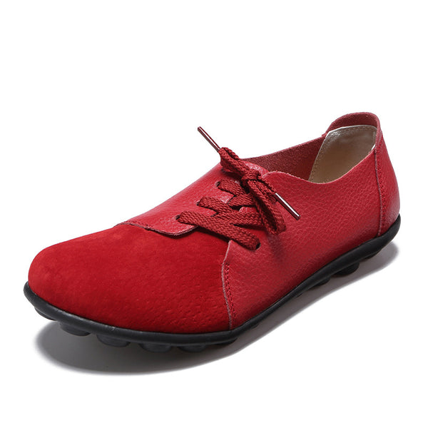 Women Casual Lace Up Comfy Flat Heel Loafers