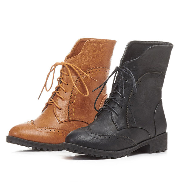 2018 Women's Low Heel Lace-Up Canvas Daily Ankle Boots