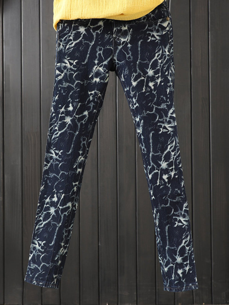 Navyblue Casual Paneled Cotton Geometric Pants