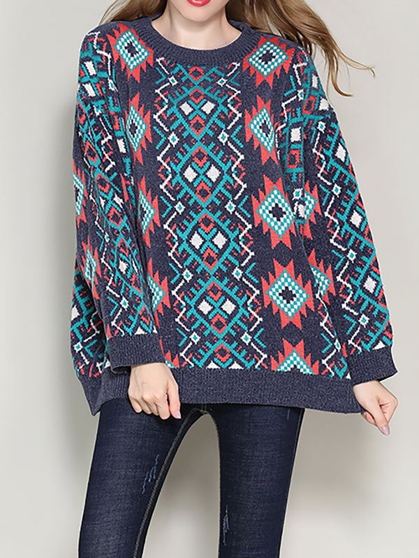 Blue Geometric Holiday Crew Neck Jacquard Knitwear