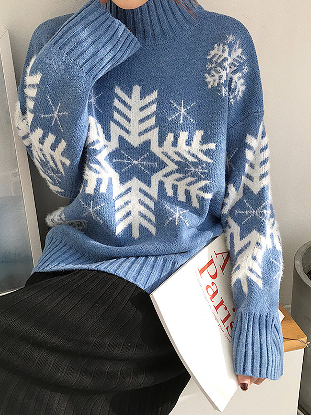 Christmas Snowflake  Knitted Blue Turtleneck Casual Sweaters