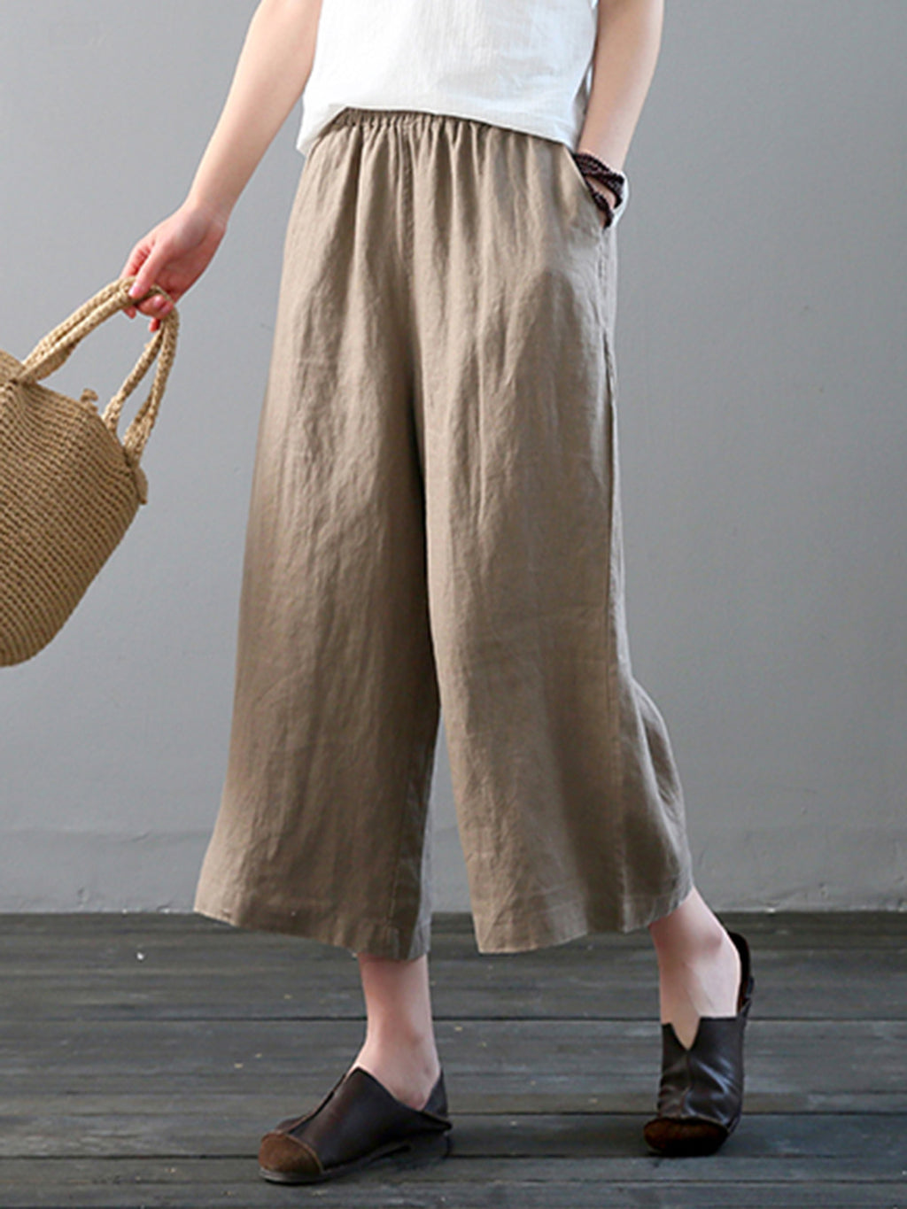 Women Wide Leg Plain Pants