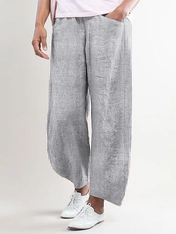 Plus Size Striped Pants Pockets Shift Casual Capri Pants