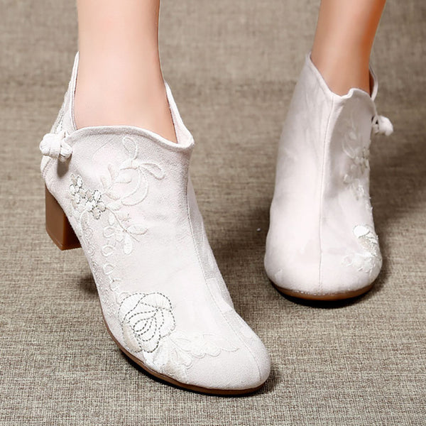 Women Floral Embroidered Button Booties Vintage Comfort Shoes