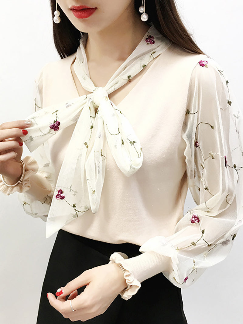White Floral Bow Casual Knit Top