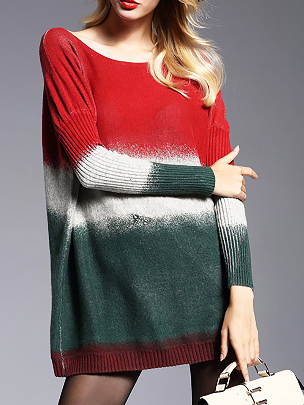 Multicolor Bateau/boat Neck Casual Color-block Knit Top