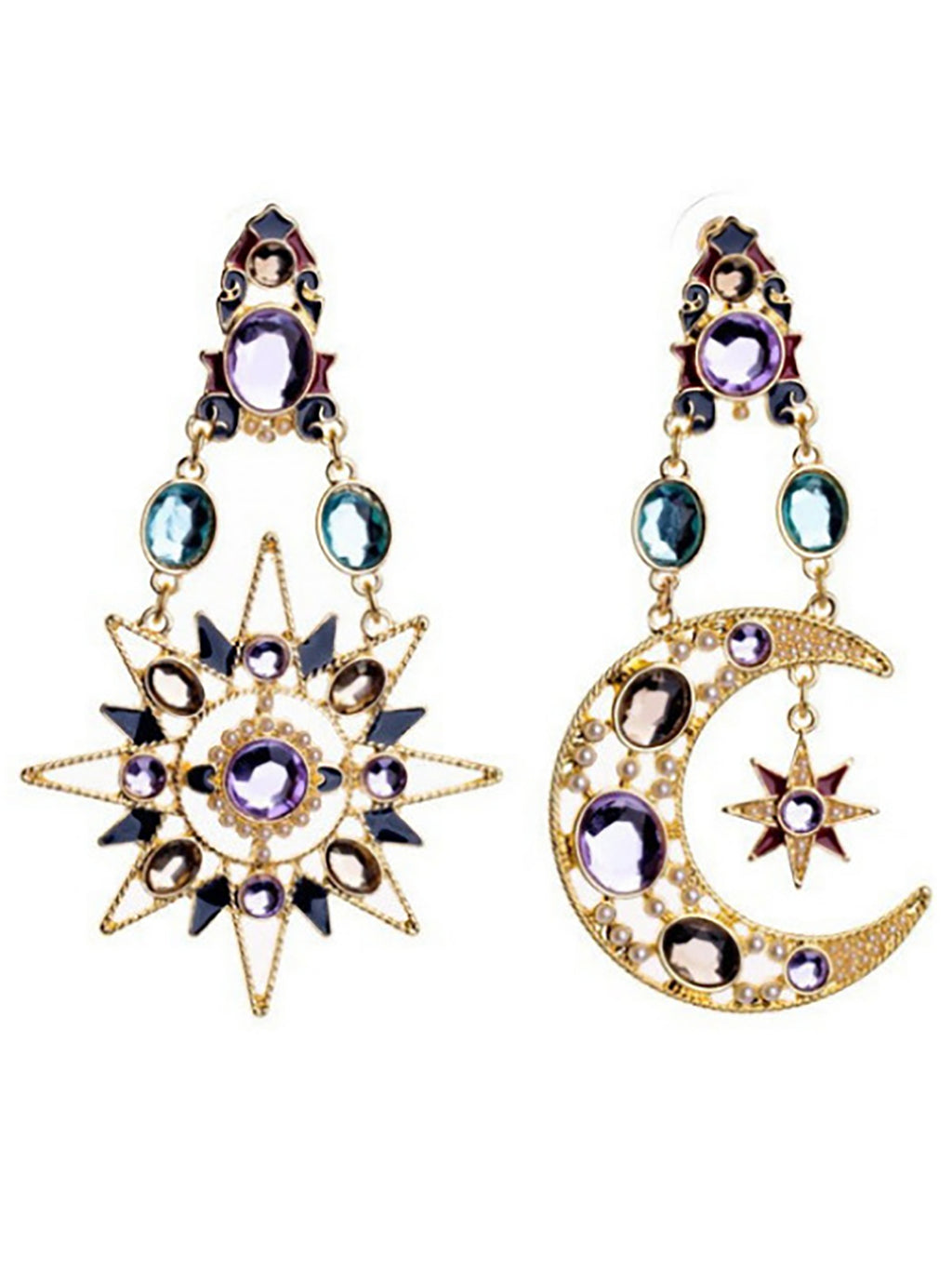 Newest Fashion Moon Star Sun Jewel Pendant Earrings