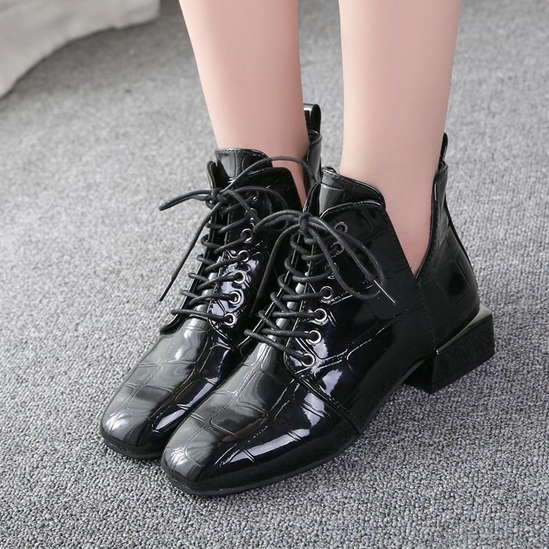 Black Dot Winter Chunky Heel PU Lace-up Boots