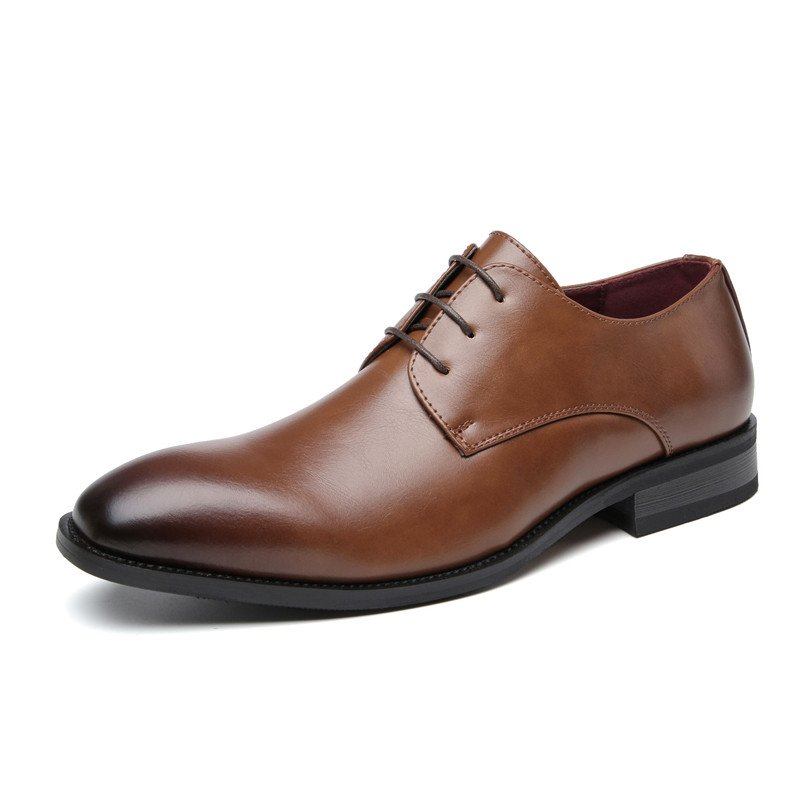 Men Round Toe Classic Lace Up Business Casual Shoes